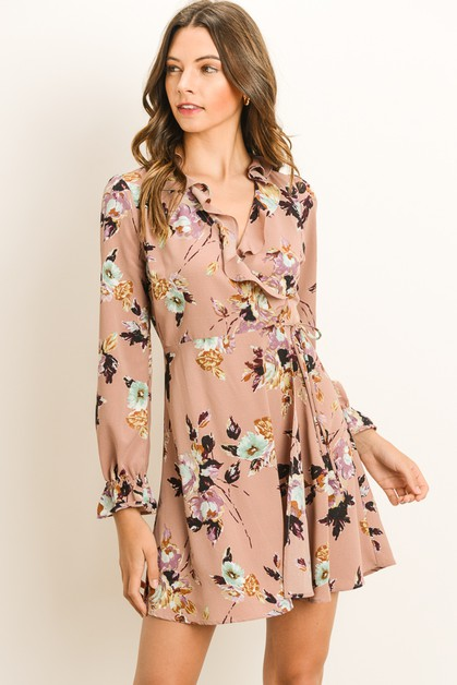 Floral Faux Wrap Dress - orangeshine.com