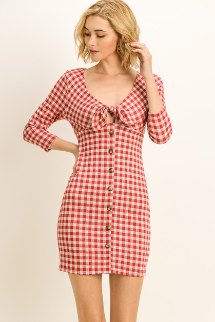 Gingham Tie Front Dress - orangeshine.com