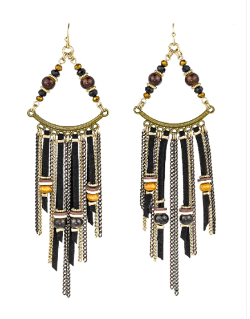 Triangle Drop Tassel Earrings - orangeshine.com