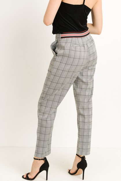 Plaid Striped Trousers - orangeshine.com