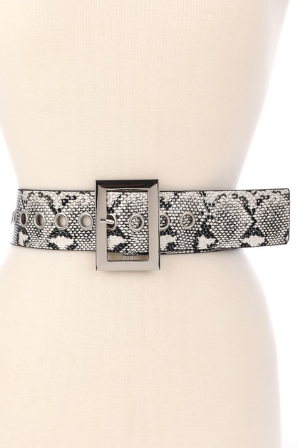 Wide Snake Print Faux Leather Belt - orangeshine.com