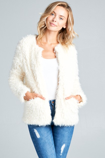 LONG SLEEVE SIDE PKT FAUX FUR JACKET - orangeshine.com