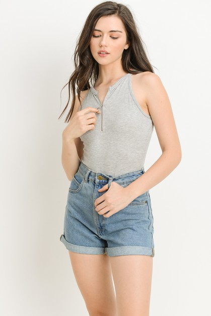 Ribbed Sleeveless Zip Bodysuit - orangeshine.com
