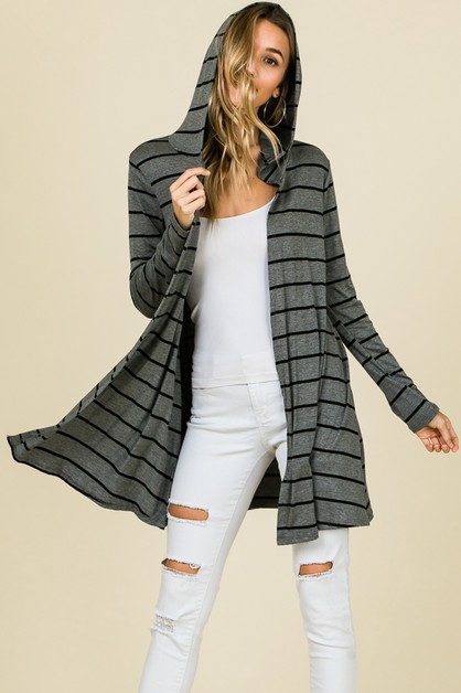 LONG SLEEVE STRIPE HOODED CARDIGAN - orangeshine.com