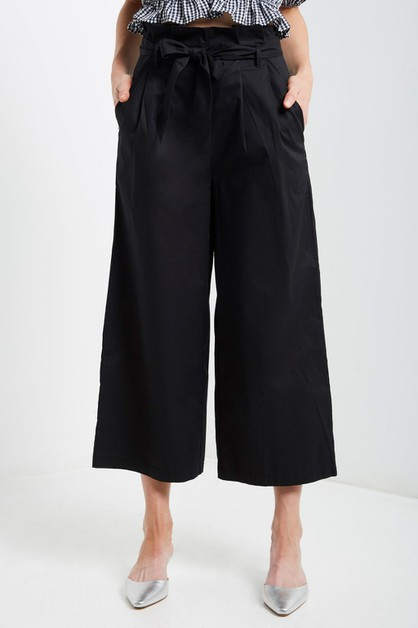 Wide Leg Cropped Cotton Trouser Pant - orangeshine.com