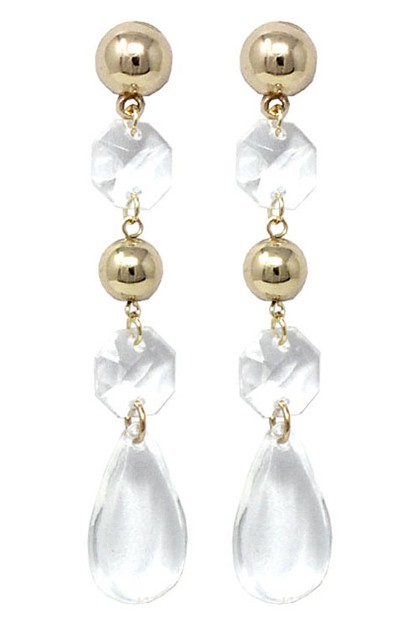 Clear Dangle Drop Post Earrings  - orangeshine.com