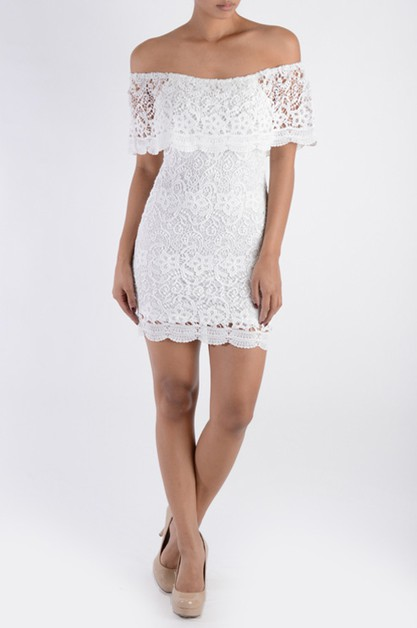 Off Shoulder Trim Lace Short Dress - orangeshine.com