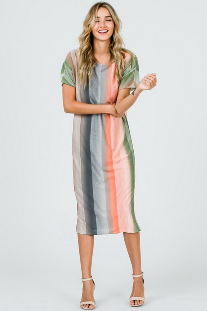 Multi Color Striped Maxi Dress - orangeshine.com