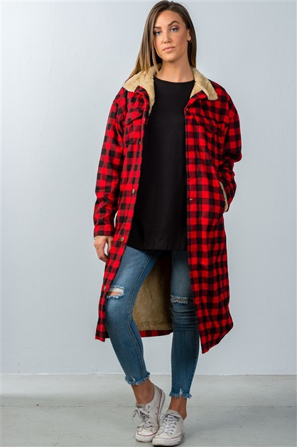 LUMBERJACK FAUX FUR LINE LONG JACKET - orangeshine.com