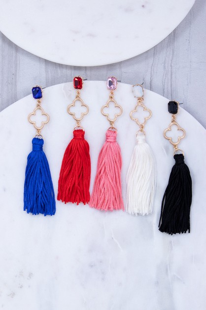 Rectangle glass stud tassel earring - orangeshine.com