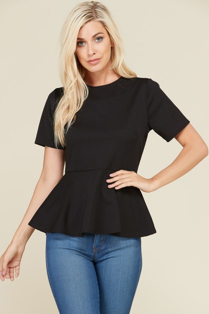 SHORT SLEEVE PEPLUM TOP - orangeshine.com