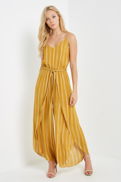 Mustard Striped Cami Split- Leg Jump - orangeshine.com