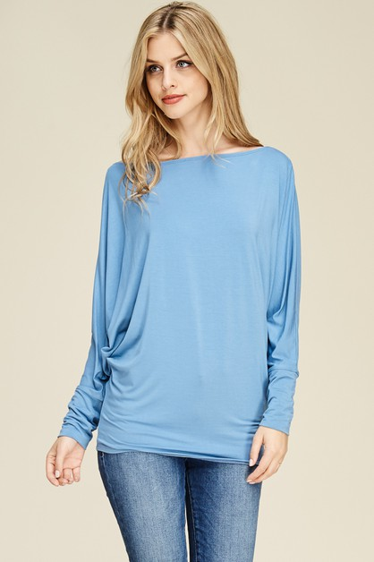 Dolman Sleeve Solid Knit Top - orangeshine.com