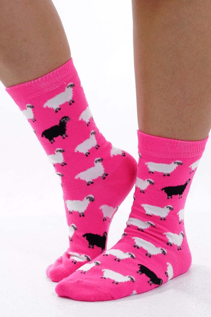 Sheep Socks Hot Pink  - orangeshine.com