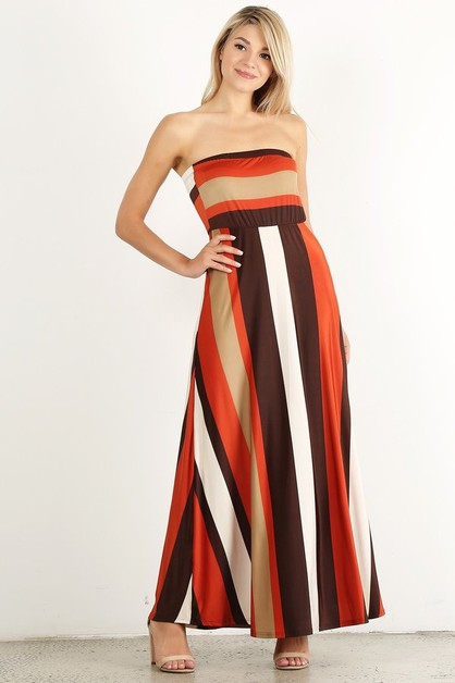 Striped strapless maxi dress  - orangeshine.com