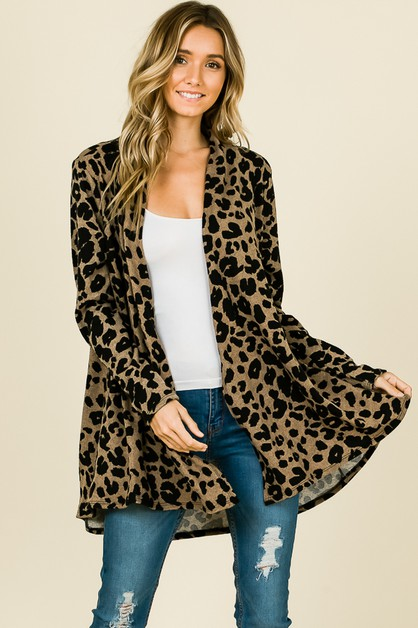 ANIMAL PRINT OPEN CARDIGAN - orangeshine.com