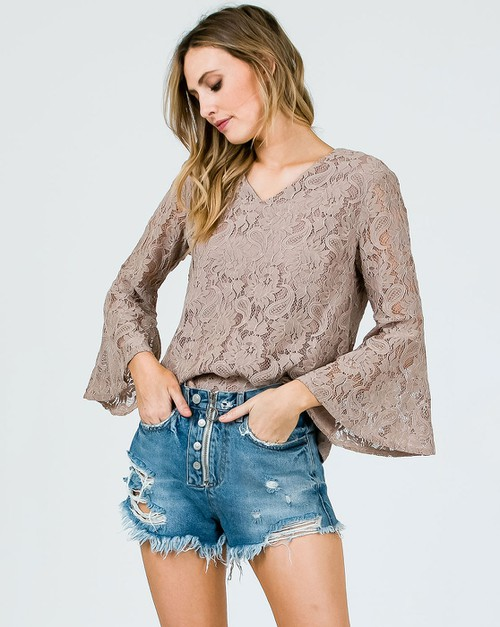 LACE FABRIC V NECK BELL SLEEVE TOP - orangeshine.com