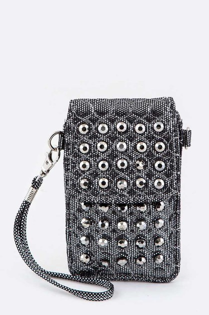 Crystal Studs Convertible Mini Pouch - orangeshine.com