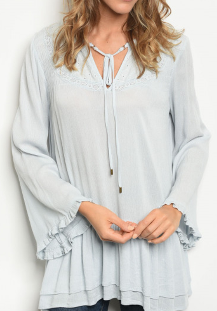 Baby Blue Romantic Blouse - orangeshine.com
