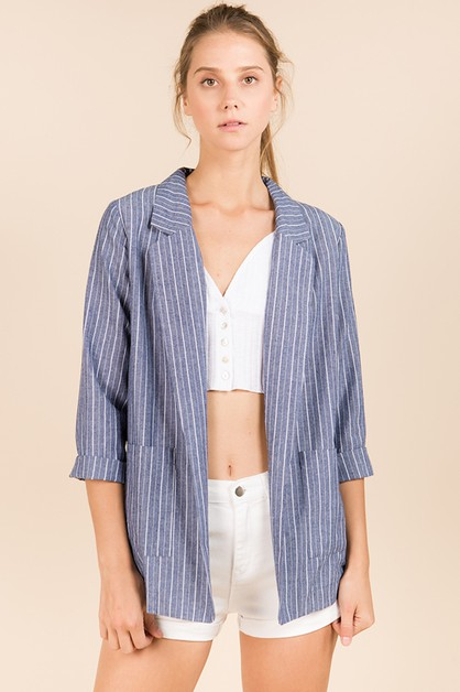 COTTON STRIPE BLAZER WITH POCKETS - orangeshine.com
