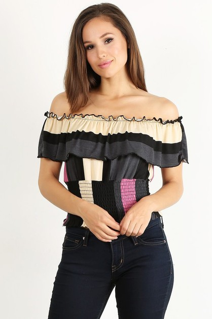 off shoulder stripe top - orangeshine.com