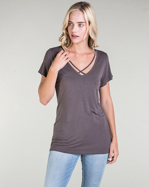 Cross Strapped V-Neck Top - orangeshine.com