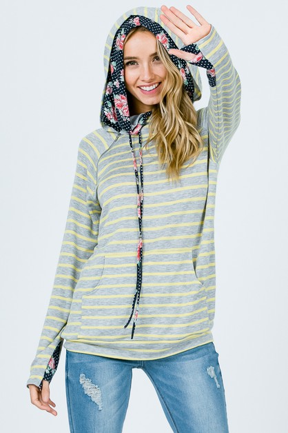 STRIPE SIDE ZIP HOODIE - orangeshine.com