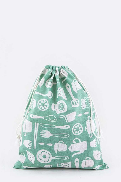 Kitchenware Print Canvas Drawstring  - orangeshine.com