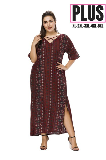 print plus size maxi dress  - orangeshine.com