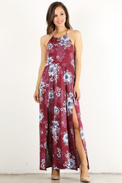 Floral print maxi dress in a loose  - orangeshine.com
