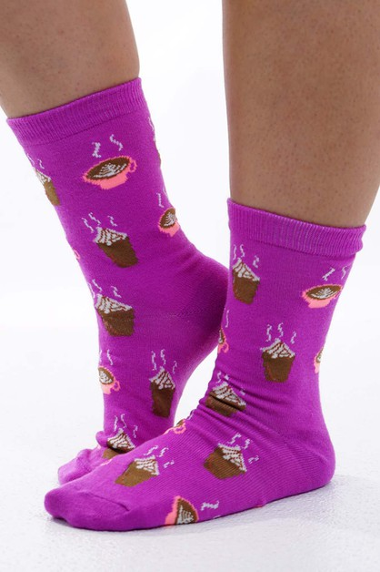 Latte Socks Purple - orangeshine.com