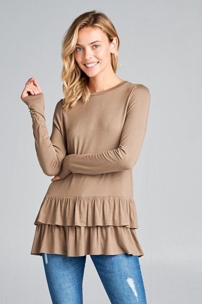 RUFFLE BOTTOM LONG SL TUNIC TOP - orangeshine.com