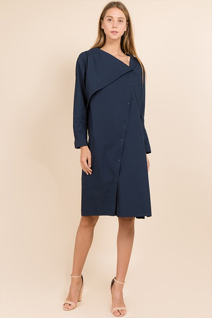 BUTTON DOWN LONG SLEEVE DRESS - orangeshine.com