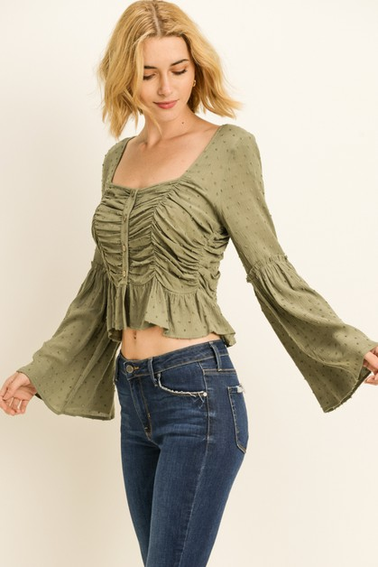 Bell Sleeve Ruched Top - orangeshine.com