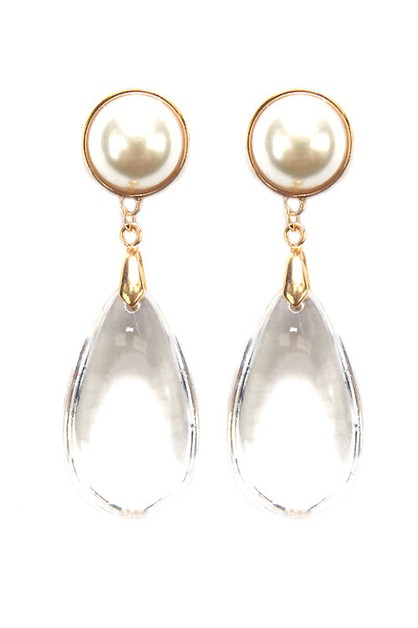 Fashion Pearl Drop Post Earrings - orangeshine.com