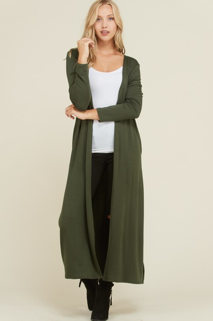 Solid Long Sleeve Side Slit Cardigan - orangeshine.com