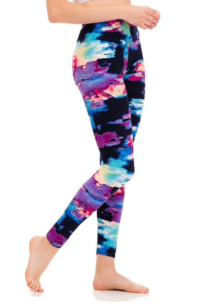Abstract Stroke Peach Skin Leggings - orangeshine.com
