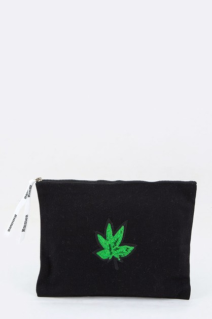 Marijuana Sequins Canvas Pouch - orangeshine.com