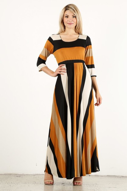 Striped maxi dress in an a line - orangeshine.com