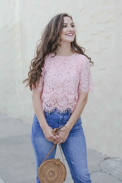 Blush Pink Lace Crop Top - orangeshine.com
