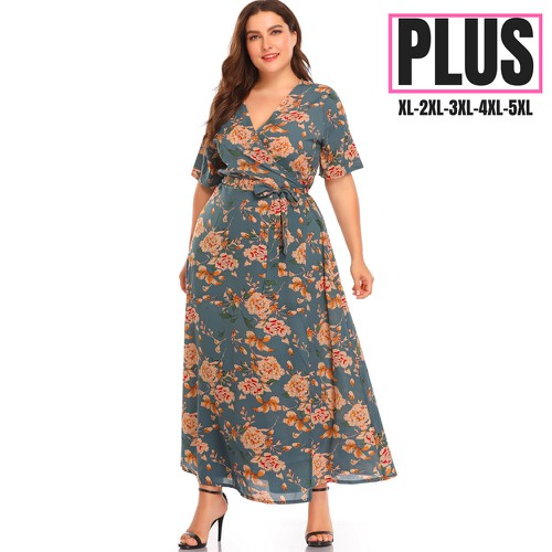 Floral Print Women Plus size Dress  - orangeshine.com