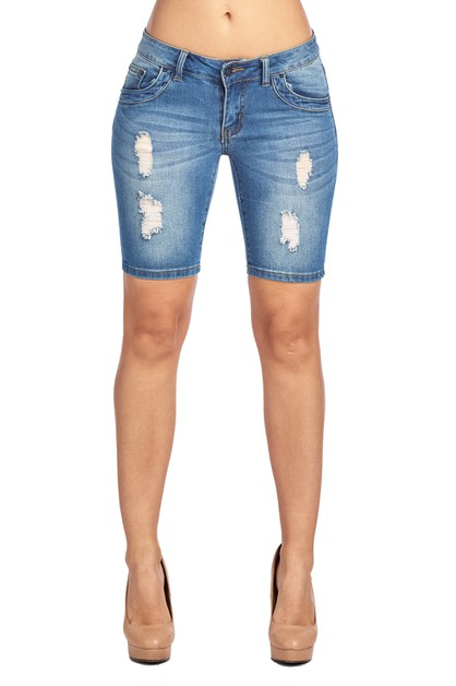 RIPPED BLUE DENIM SHORTS - orangeshine.com