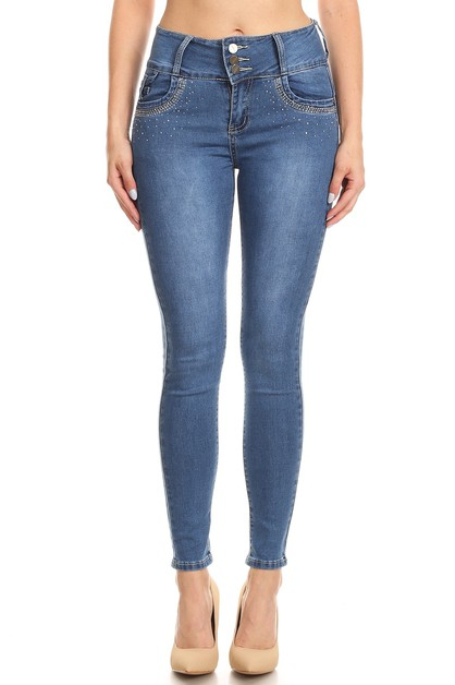 PUSH UP JEANS WITH EMBELISSHED STONE - orangeshine.com