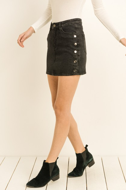 Denim Button Skirt - orangeshine.com