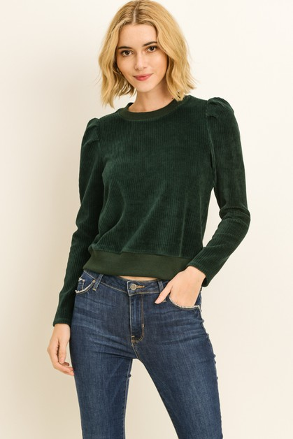 Velour Puff Sleeve Sweater - orangeshine.com