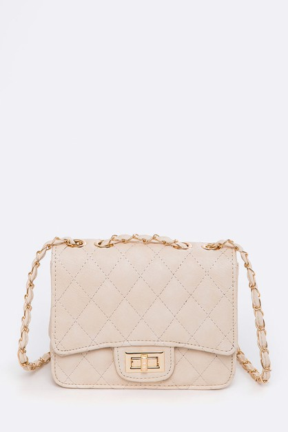 Quilted Twist Lock Shoulder Bag - orangeshine.com
