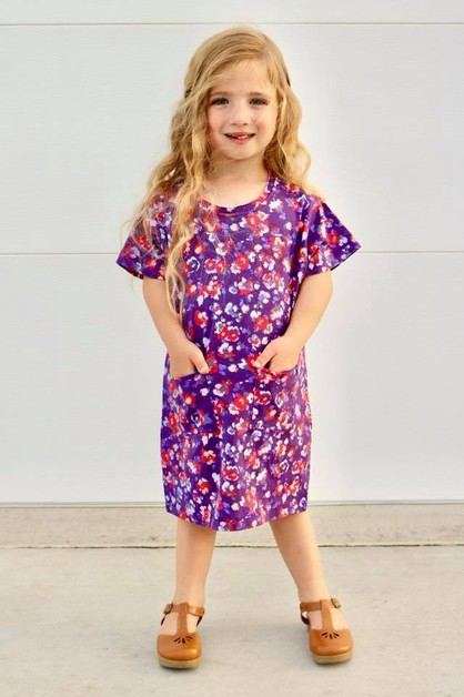 Pria Dress - Plum Floral Toddler - orangeshine.com