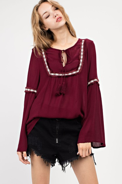 BELL SLEEVED BOHO TOP - orangeshine.com