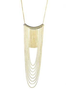 Fringe Chain Studded Bar Necklace  - orangeshine.com