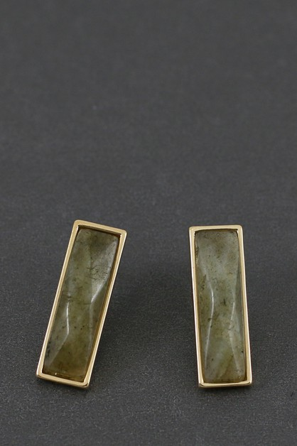 NATURAL STONE BAR POST EARRING  - orangeshine.com